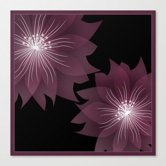 Burgundy flowers on black background . Canvas Print