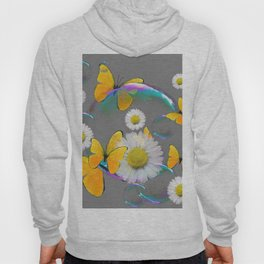 YELLOW BUTTERFLIES  DAISIES & SOAP BUBBLES GREY COLOR Hoody