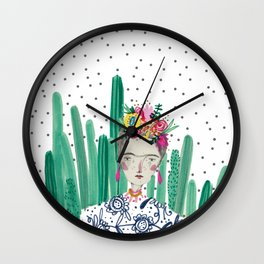 Frida Kahlo. Art, print, illustration, flowers, floral, character, design, famous, people, Wall Clock