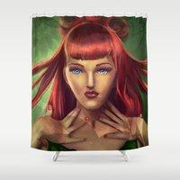 poison ivy Shower Curtains featuring Poison Ivy by Valérie Loetscher (Vay)