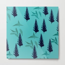 Trees & Leaves On Blue Background Metal Print