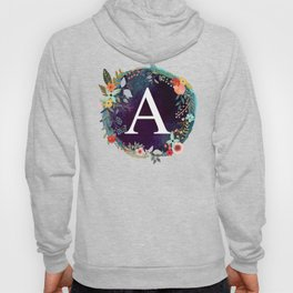 Personalized Monogram Initial Letter A Floral Wreath Artwork Hoody