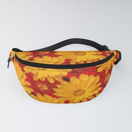 A Medley of Red and Yellow Marigolds Fanny Pack