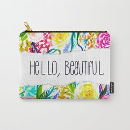 Neon Summer Floral + Hello Beautiful Carry-All Pouch