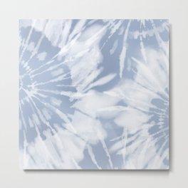 blue grey soft tie dye Metal Print