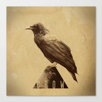 crow Canvas Prints featuring -CROW- by antoniopiedade