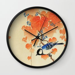 Ohara Koson - Great tit on paulownia branch Wall Clock
