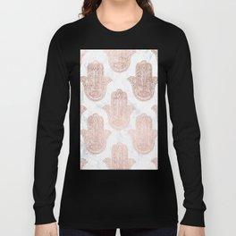 Modern rose gold floral lace hamsa hands white marble illustration pattern Long Sleeve T-shirt
