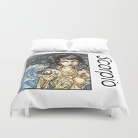 scorpio Duvet Covers featuring Scorpio by TammyWitzens
