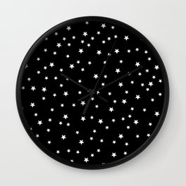 little white stars, night, night sky, romantic Wall Clock