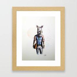 Rhino in Casual Wear Framed Art Print