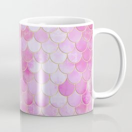 Pink Pearlescent Mermaid Scales Pattern Coffee Mug