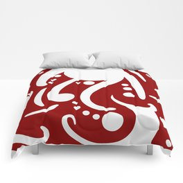 A Moderate Abstraction: Red and White Comforters