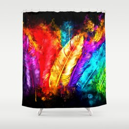 colorful bird feathers watercolor splatters Shower Curtain