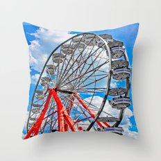 Red, White & Blue Ferris Wheel at the Fair Throw Pillow