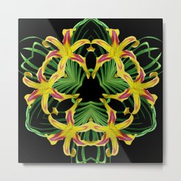 Daylily Mandala - Hemerocallis 'Free Wheelin' k9 Metal Print