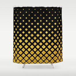 Art Deco Glitter-Gold Diamonds on Black Pattern Shower Curtain