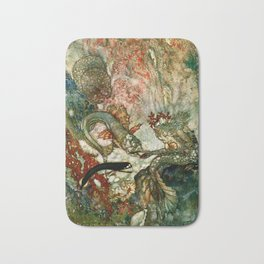"""King of the Mermaids"" Fairy Tale Art by Edmund Dulac Bath Mat"