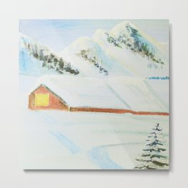 winter. house with tree Metal Print