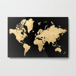 Sleek black and gold world map Metal Print