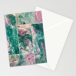 Teal Purple Marble Fluid Painting Stationery Cards