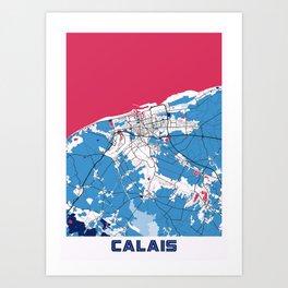 Calais - France MilkTea City Map Art Print