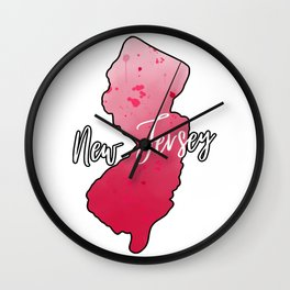 New Jersey State Map Watercolor Art Wall Clock