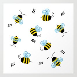 Buzzing Bees Art Print