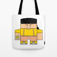 power rangers Tote Bags featuring Mighty Morphin Power Rangers - Trini (The Original Yellow Ranger) by Choo Koon Designs