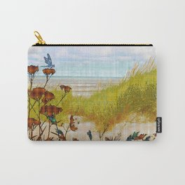 Plaid Beachscape with Dragonflies Carry-All Pouch