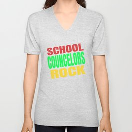 School Counselors Rock Cute Guidance Counselor Gift design Unisex V-Neck