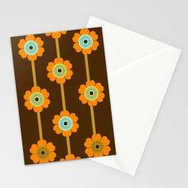 Cool Cat - minimal retro vibes floral flower power 1970s style throwback colors decor 70's Stationery Cards