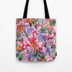 Floral and Flemingo VI pattern Tote Bag