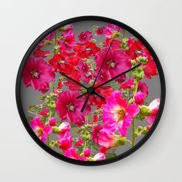 AWESOME FUCHSIA  RED HOLLYHOCKS GARDEN GREY ART Wall Clock