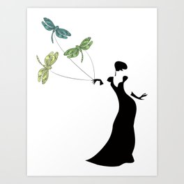 Dame of Dragonfly Art Print