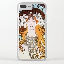 Alphonse Mucha Sarah Bernhardt Vintage Art Nouveau Clear iPhone Case