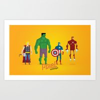 super heroes Art Prints featuring Super Heroes - Pixel Nostalgia by Boo! Studio