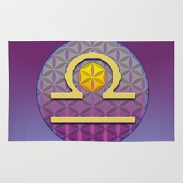 Flower of Life LIBRA Astrology Design Rug