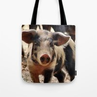 piglet Tote Bags featuring Young Piglet by MehrFarbeimLeben