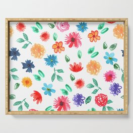 Watercolor cornflower forget-me-not, rose peony green leaves pattern Serving Tray
