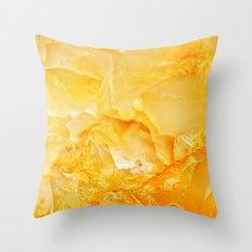 Yellow onyx marble Throw Pillow