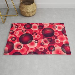psychedelic red spheres floating in the space digital graphic design Rug