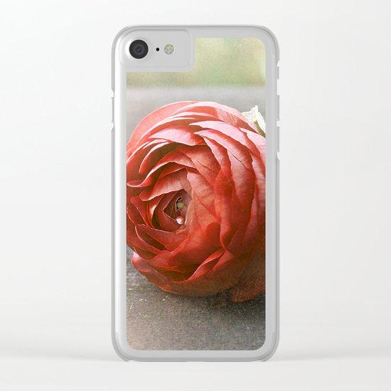 Vintage Ranunculus(2). Clear iPhone Case