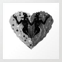 Self Love B/W Art Print