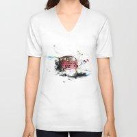 volkswagen V-neck T-shirts featuring volkswagen van by Adriana Bermúdez