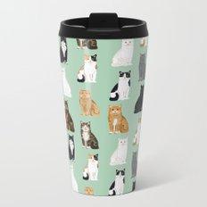 Cat breeds pattern kitty kittens cats tabby siamese white tortoiseshell Metal Travel Mug