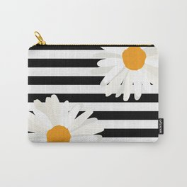 Black and white stripe, daisies Carry-All Pouch