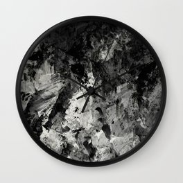 Impossibility - Textured, black and white abstract Wall Clock
