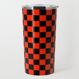 Black and Scarlet Red Checkerboard Travel Mug