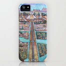 Mural of the Aztec city of Tenochtitlan by Diego Rivera iPhone Case